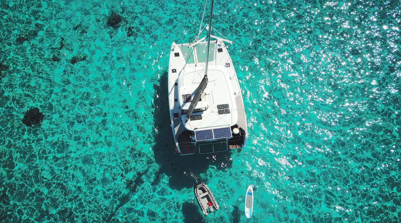 Drone shot of «Vega» in Tahiti, July 2019.